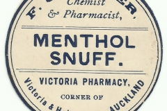 Cooper. Victoria Pharmacy, Auckland. Menthol Snuff