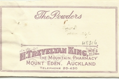 Trevelyan King Powders envelope. Mt Eden