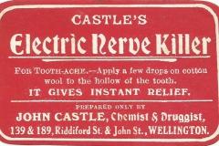 Castle Label. Wellington Nerve Killer