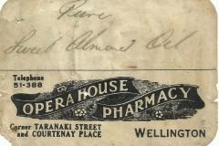 Opera House Pharmacy Label. Wellington