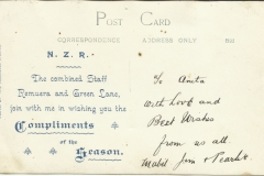 Remuera and Greenlane Railway Stations staff c1910 Reverse.